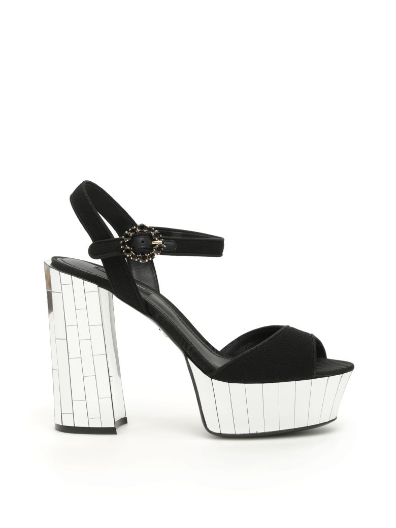 Dolce & Gabbana Keira Mirror Sandals - NERO (Black)