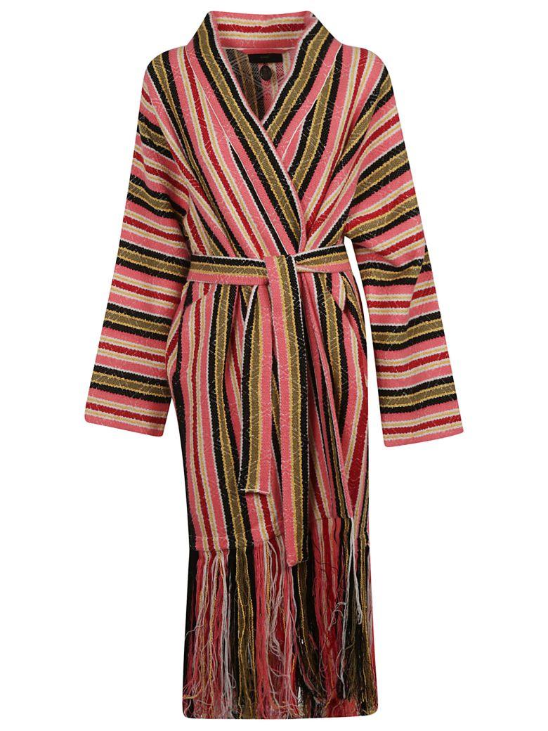 Alanui Baja Stripes Fringed Cardigan - Pink