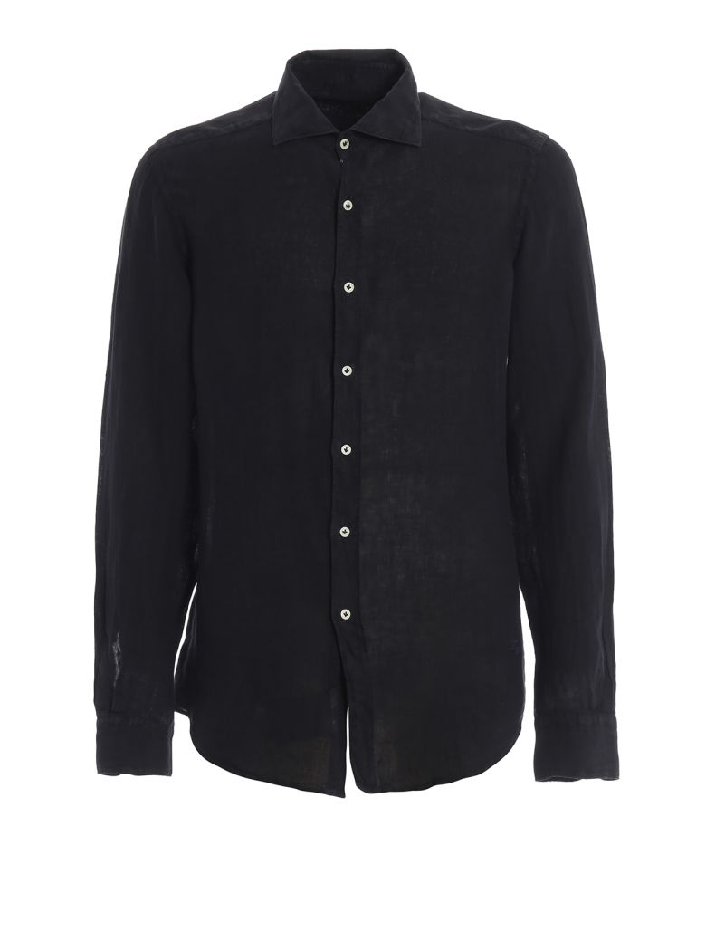 Fay Dark Blue Linen Shirt - Blue
