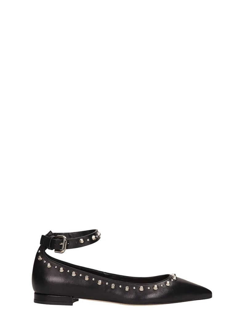 Julie Dee Black Leather Ballarinas - Black