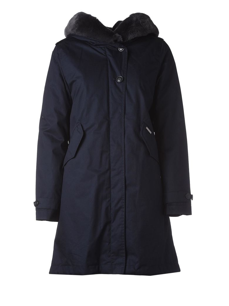 Woolrich Blue Hooded Winter Coat - Blu