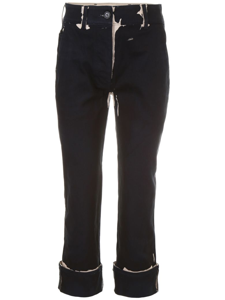 Prada Linea Rossa Overprint Denim Trousers - ALBINO+NERO (Black)