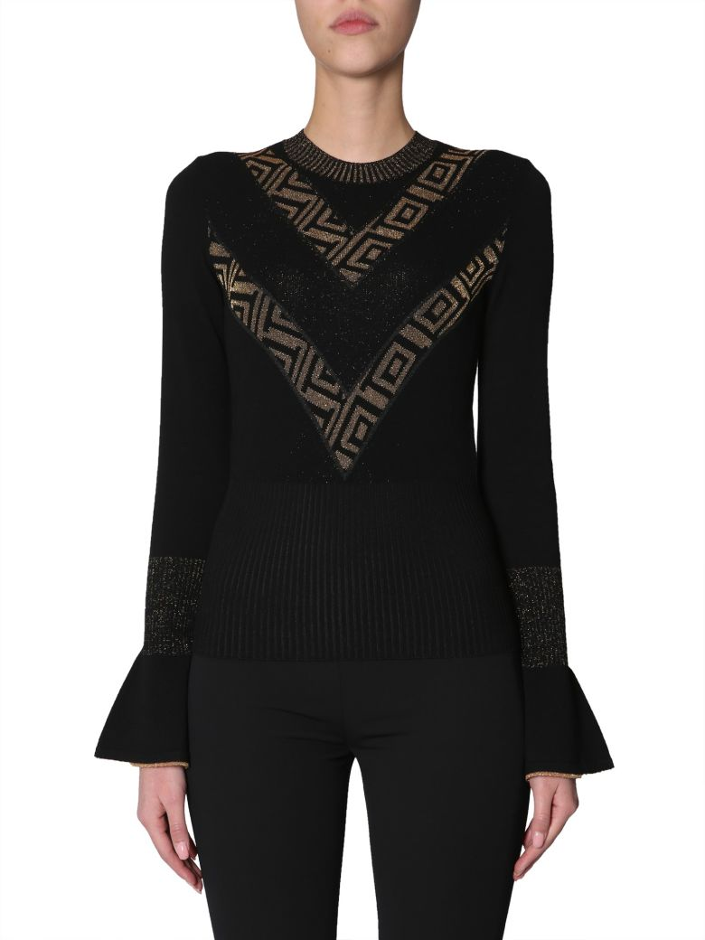 Versace Collection Sweater With Ruffle Sleeves - NERO