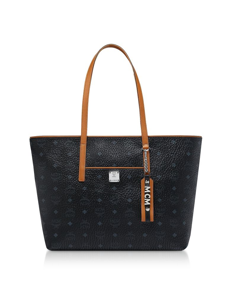 MCM Black Visetos Anya Top Zip Shopping Bag - Black