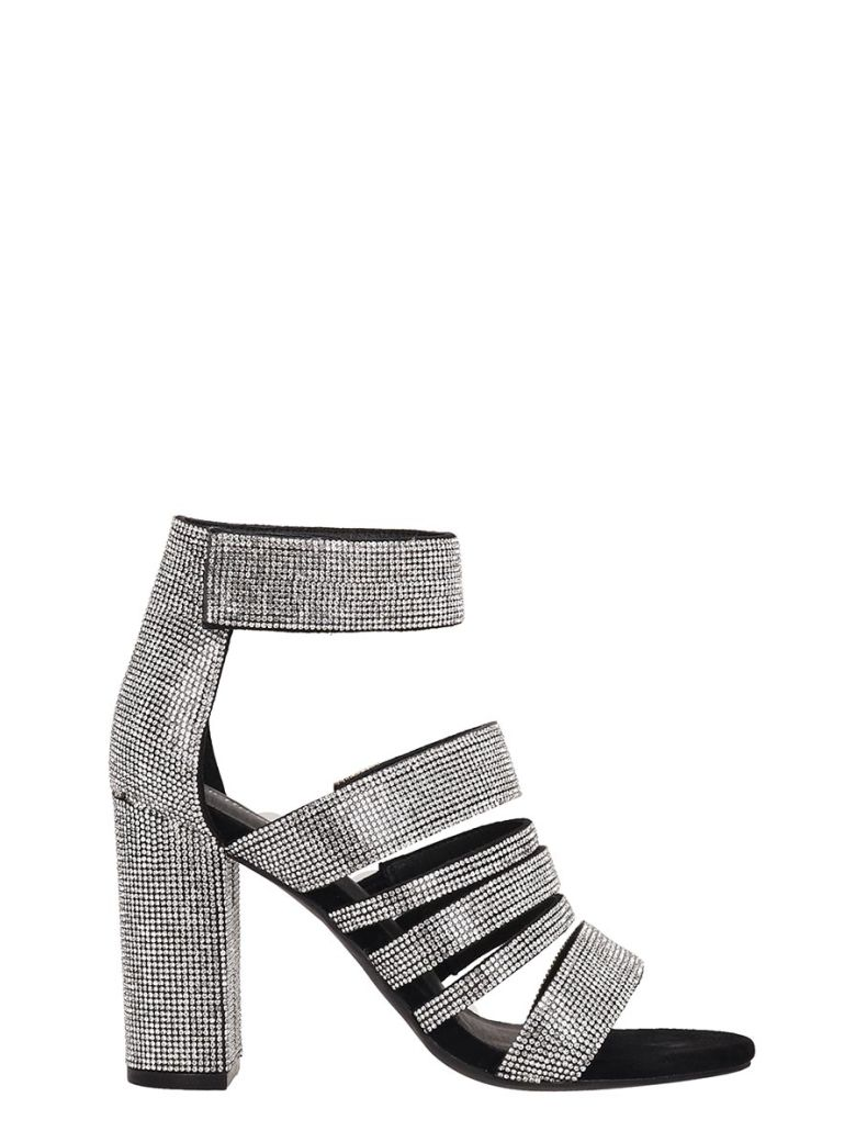 Jeffrey Campbell Black-silver Fabric Sandals - silver