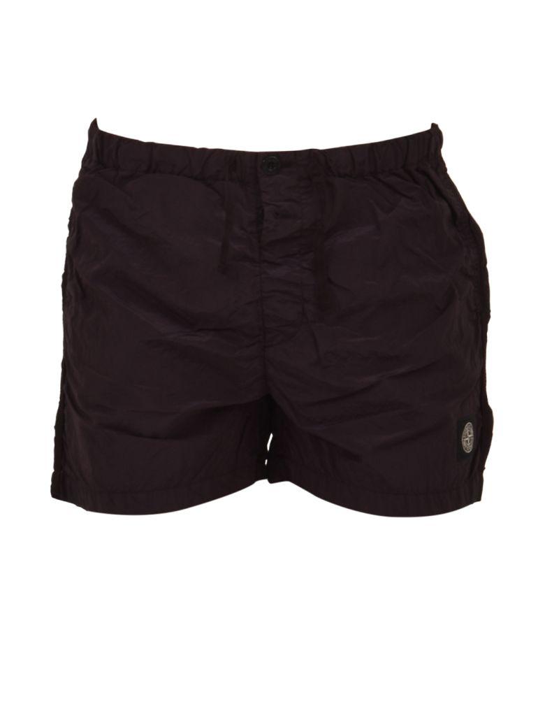 Stone Island Burgundy Swim Shorts - Black