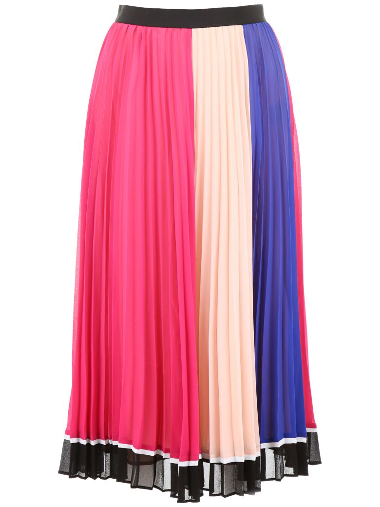 self-portrait Pleated Skirt - PINK NAVY (Fuchsia)