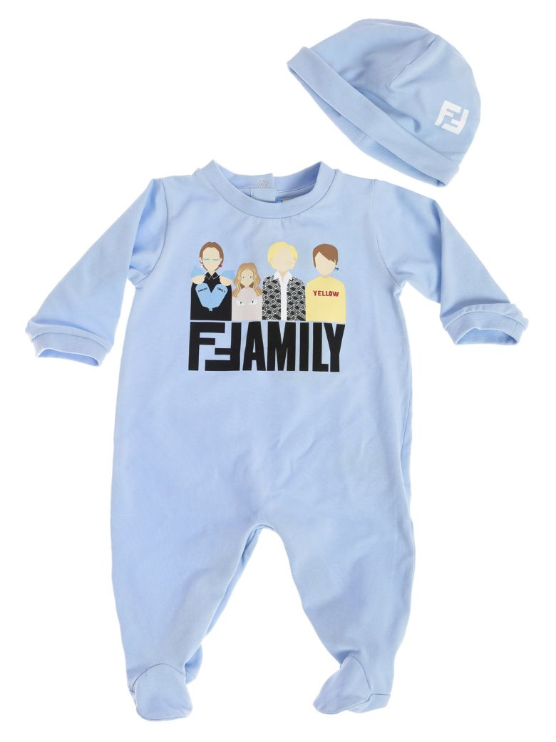 Fendi Kids Family Rompers & Cap Set