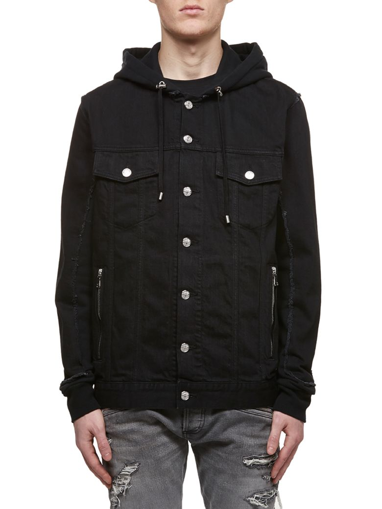 Balmain Hooded Denim Jacket - Nero