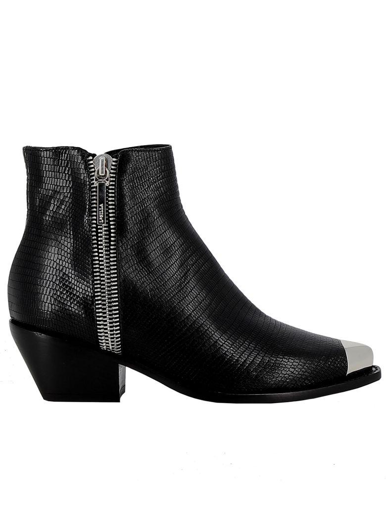 Le Silla Black Leather Ankle Boots - BLACK