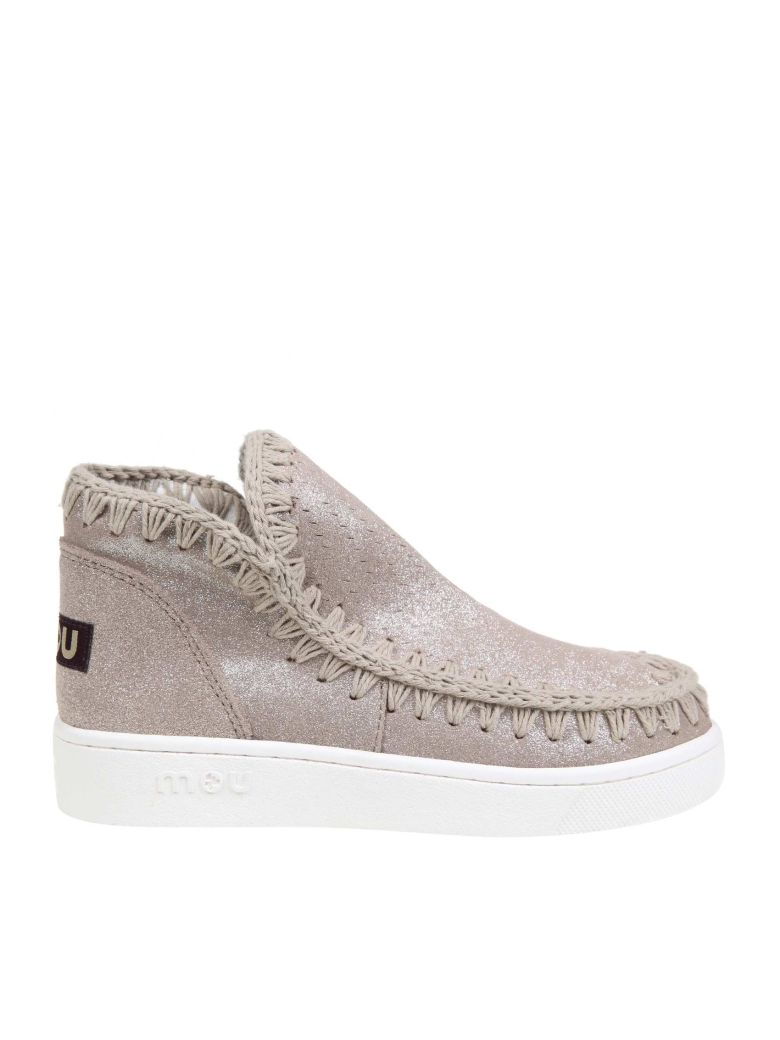 Mou Sneakers In Suede Glittered Leather Beige Color - Beige
