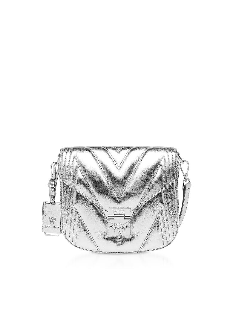 MCM Quilted Metallic Leather Patricia Shoulder Bag - Silver