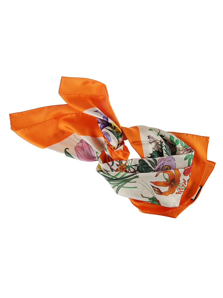 Gucci Floral Print Foulard - orange