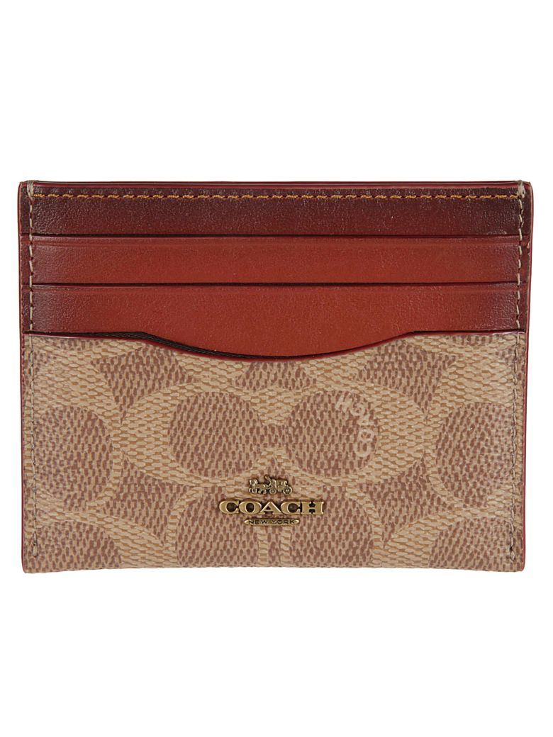 Coach Logo Plaque Cardholder - Tan rust