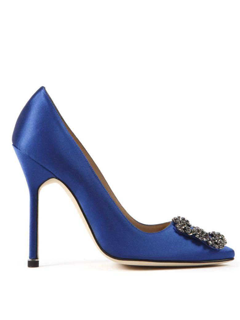 Manolo Blahnik Blue Satin Haginsi Pumps - Blue