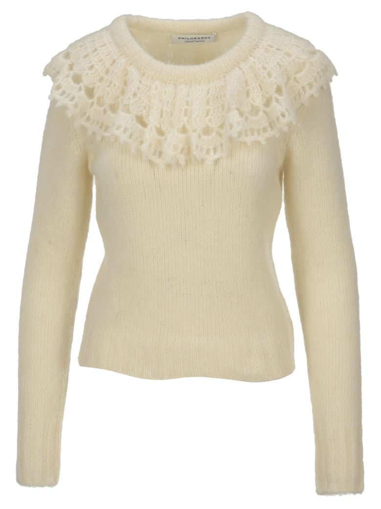 Philosophy di Lorenzo Serafini Philosophy Ruches Collar Sweater - WHITE