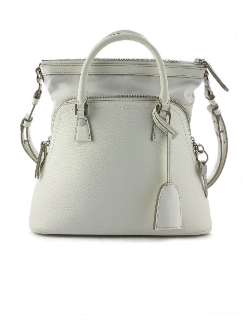 Maison Margiela 5ac Medium Bag In White Grainy Leather - Bianco