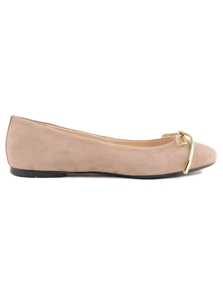 Anna Baiguera Bow Front Ballerinas - Taupe Suede Kid