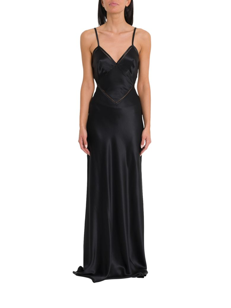 Alberta Ferretti Long Silk Satin Dress - Black