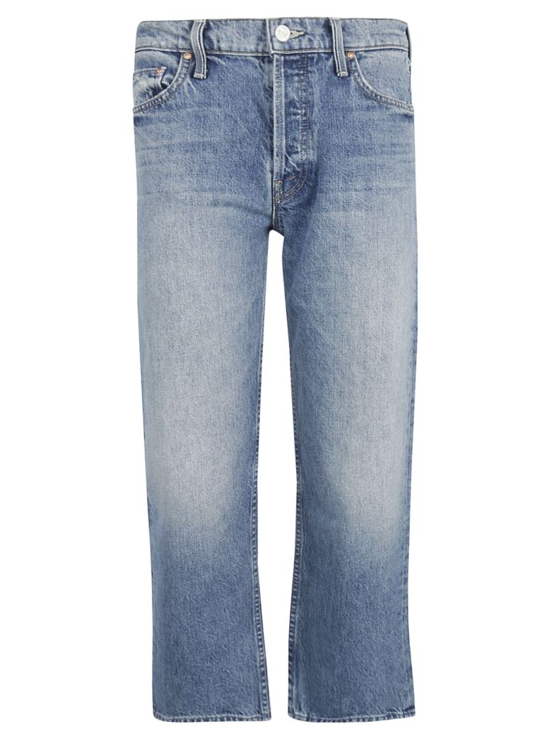 Mother Straight Leg Faded Jeans - Stonewashed Blue
