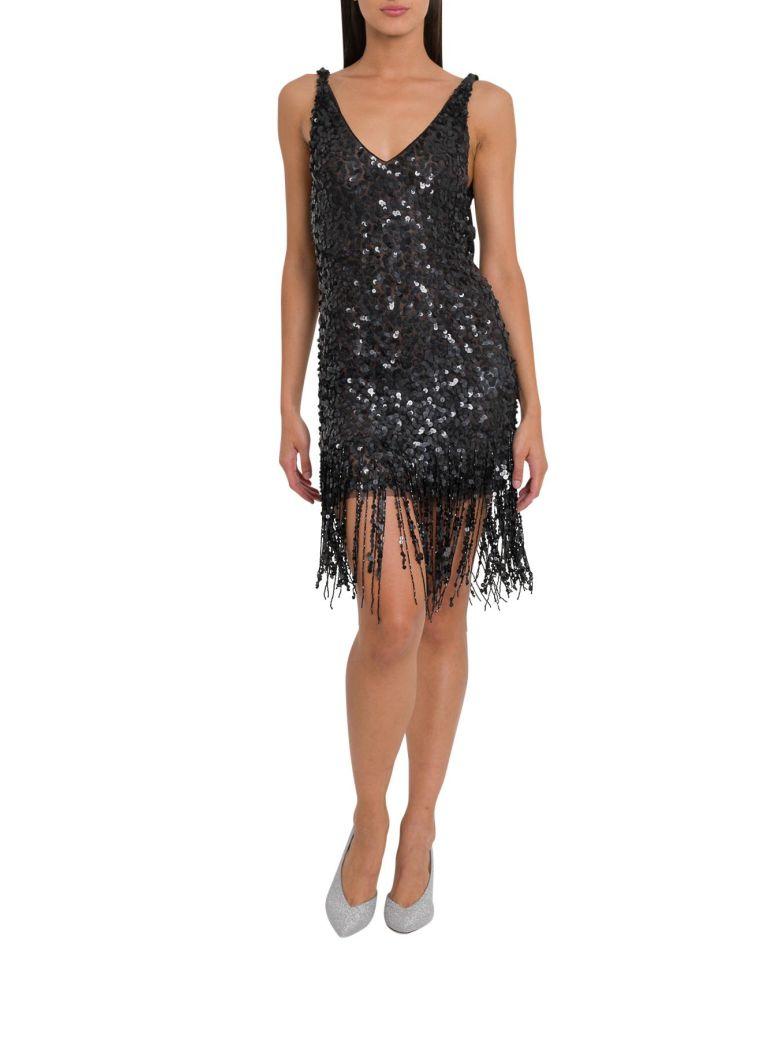 ATTICO Sequins Dress With Fringes - Nero