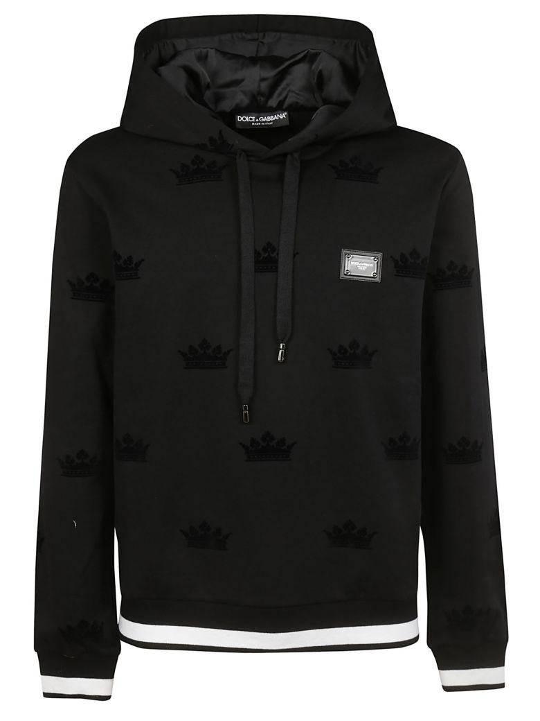 Dolce & Gabbana Crown Pattern Hoodie - Black