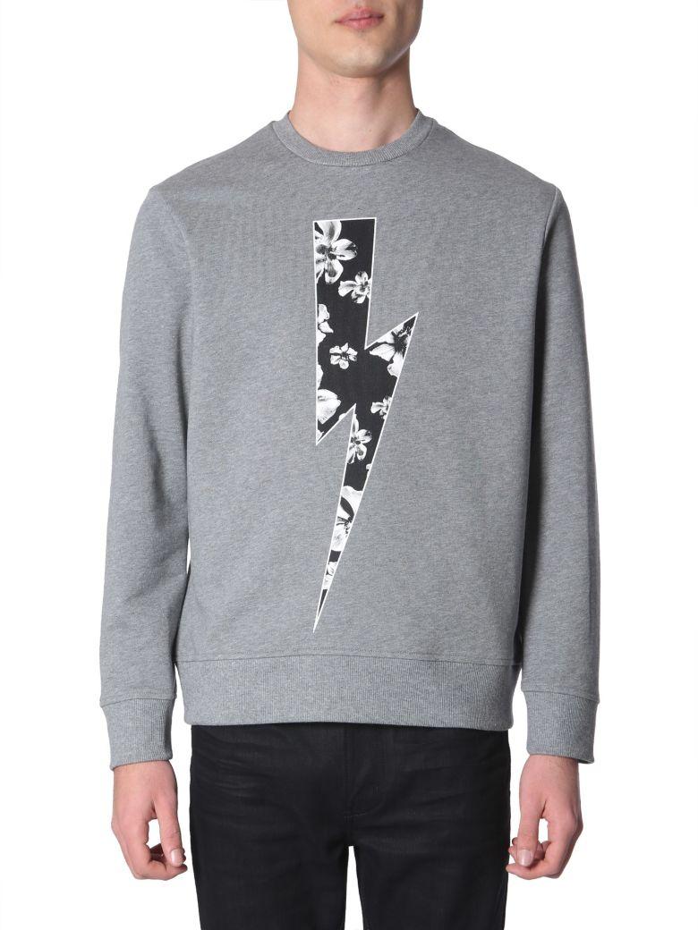 Neil Barrett Flower Bolt Printed Sweatshirt - GRIGIO