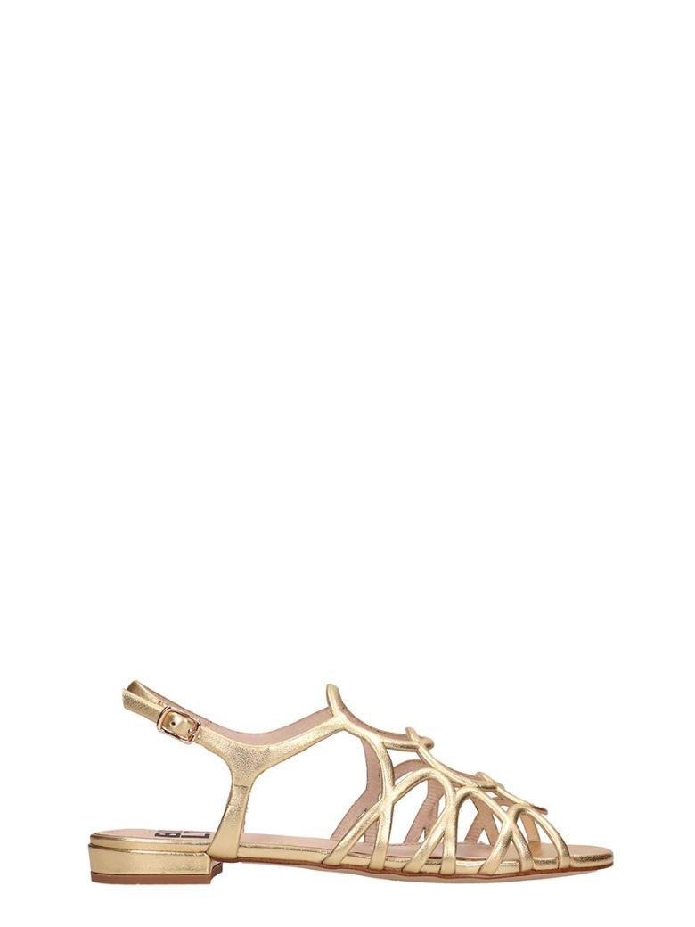 Bibi Lou Gold Leather Flat Sandals - Gold