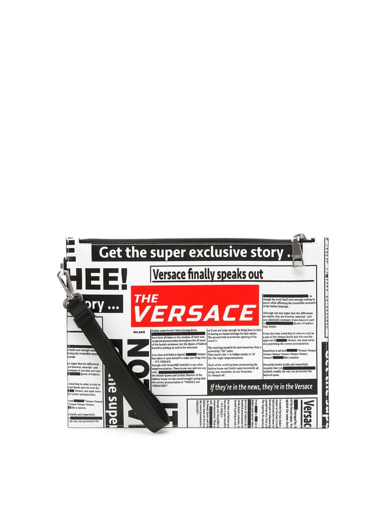 Versace Newspaper Print Pouch - WHITE BLACK RED|Bianco