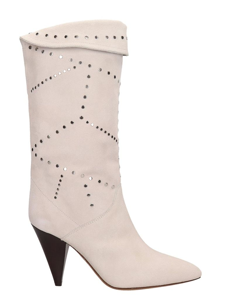 Isabel Marant White Suede Boots - white