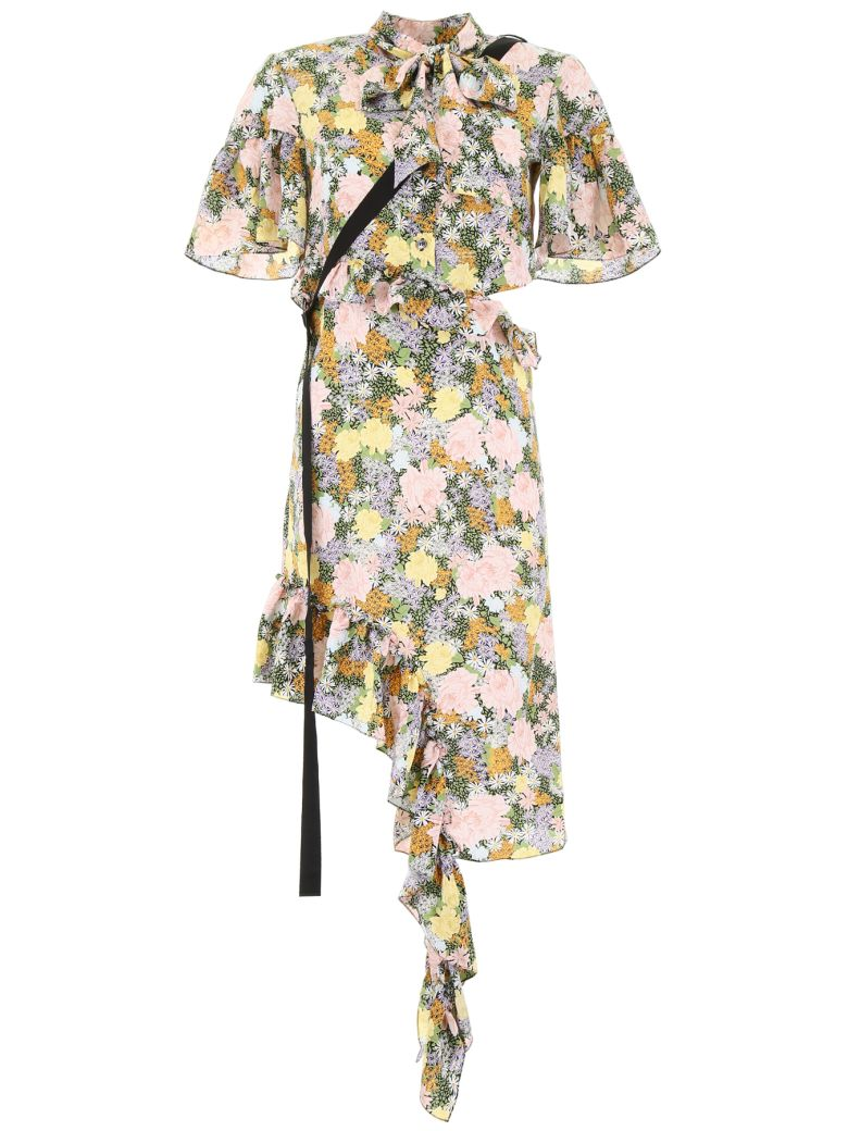 Rokh Ruffled Dress With Floral Print - MULTI (Pink)