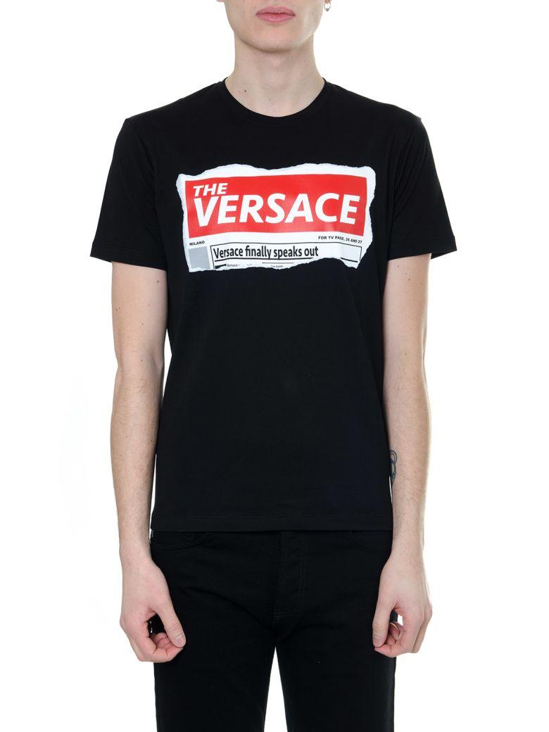 Versace Black Headline T-shirt In Cotton - Black/red
