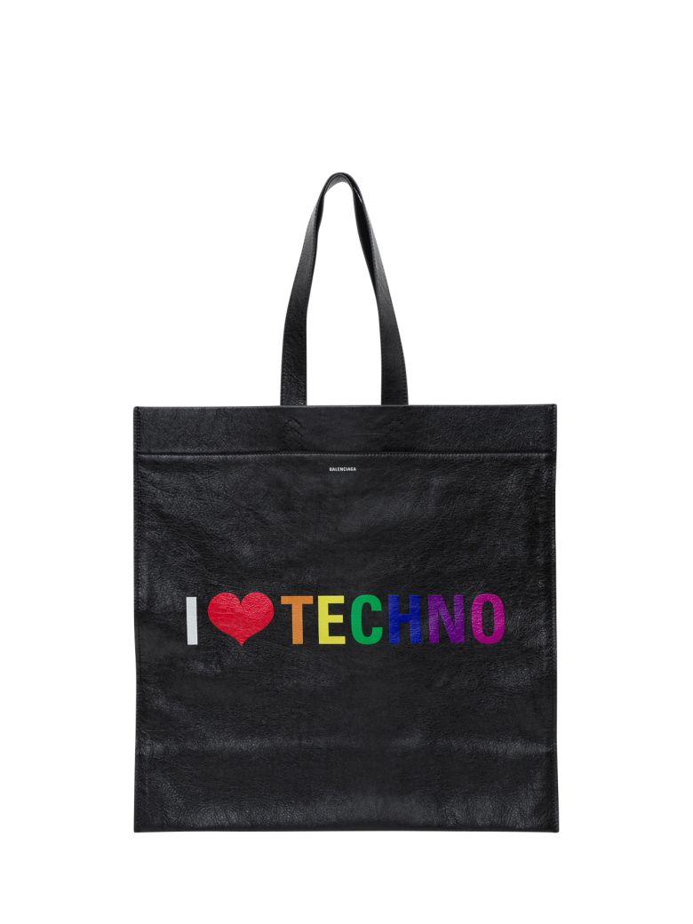 Balenciaga Supermarket Shopper L I Love Techno - Black