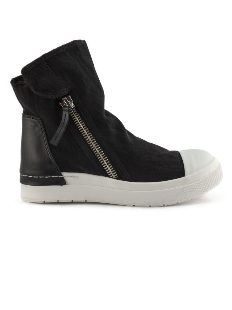 Cinzia Araia High-top Sneaker In White Leather And Fabric - Bianco