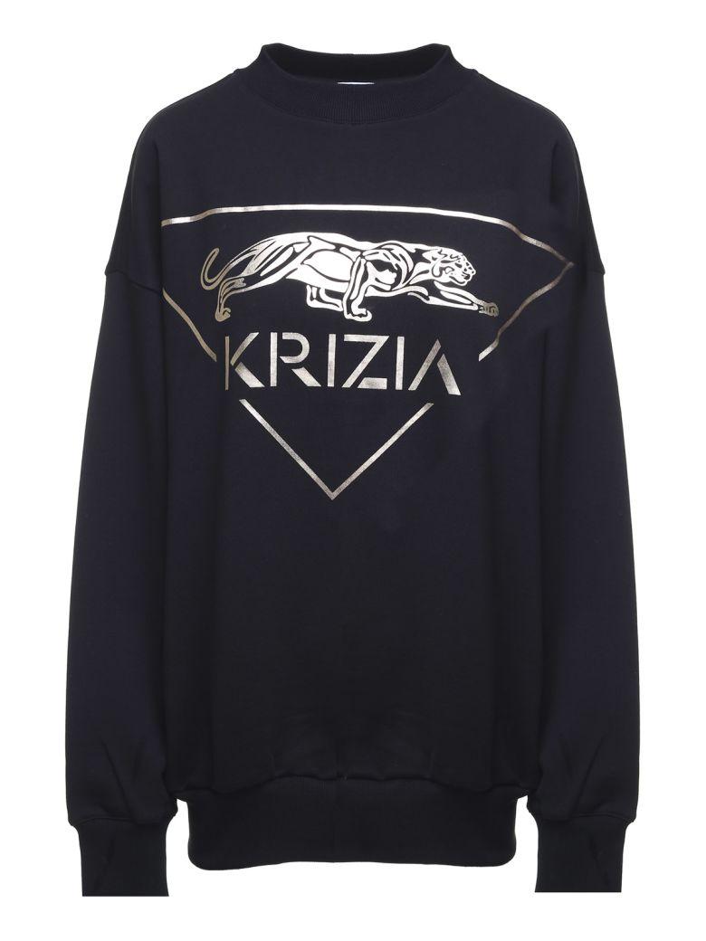 Krizia Metallic Panther-print Cotton Oversized Sweatshirt - Nero