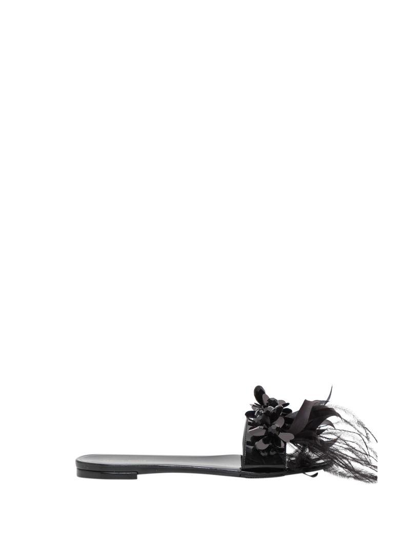 Simone Rocha Stones And Feathers Slide Sandal - Nero
