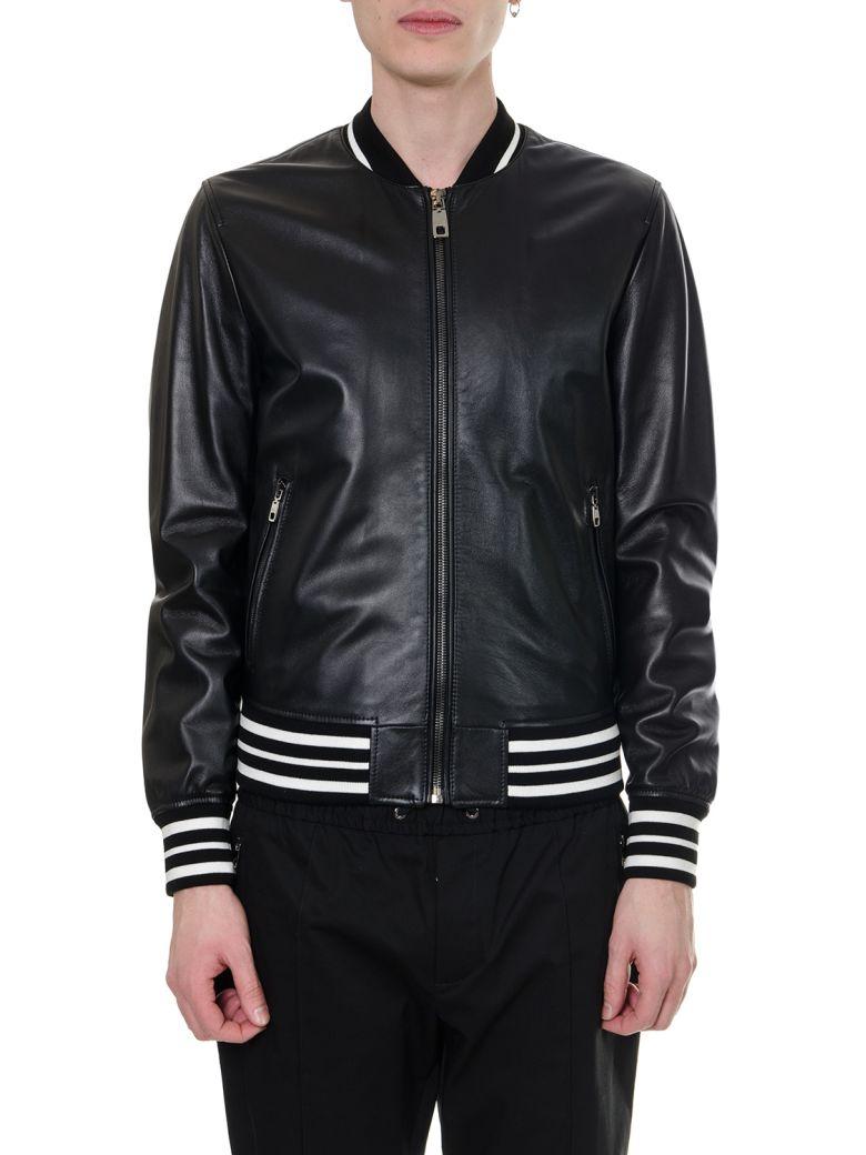Dolce & Gabbana Black Leather Logo Jacket - Black