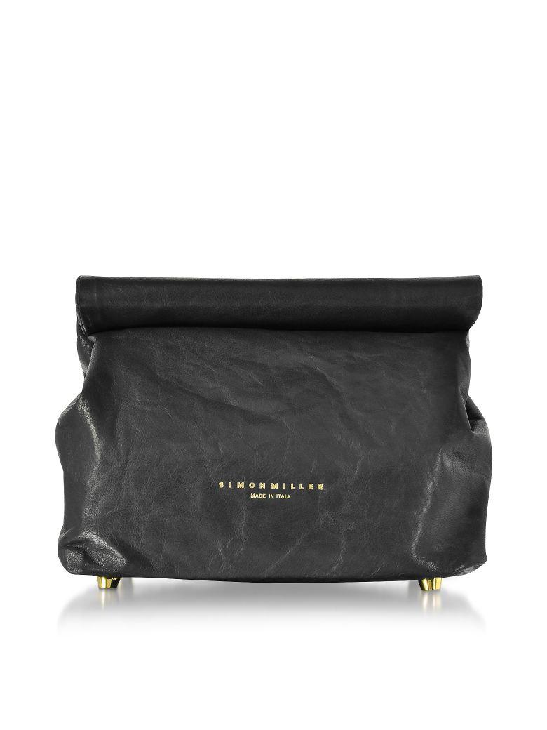 Simon Miller S809 Black Leather 20 Cm Lunch Bag - Black