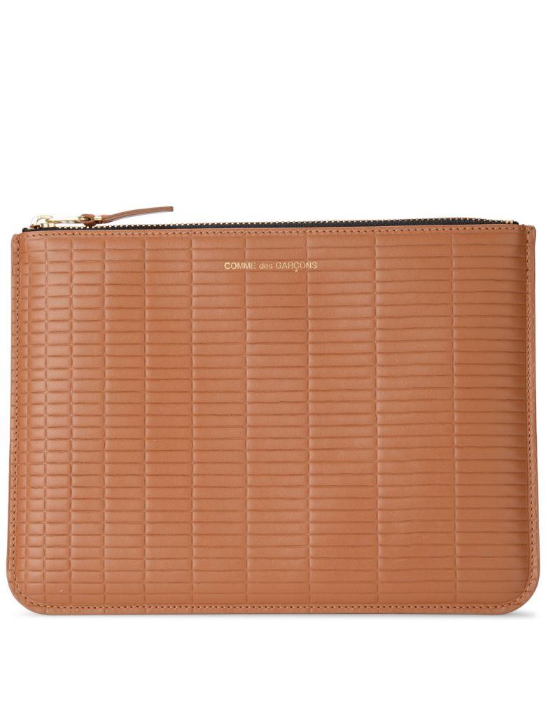 Comme des Garçons Wallet Brick Line Leather Purse - MARRONE