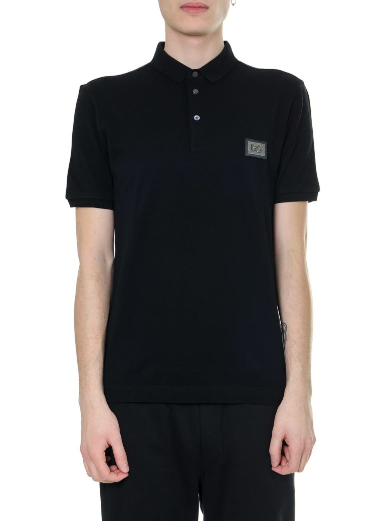 Dolce & Gabbana Black Cotton Logo Plate T-shirt - Black