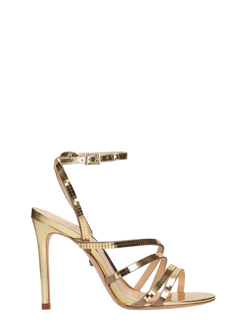 Schutz Disco Mirror Gold Leather Sandals - gold