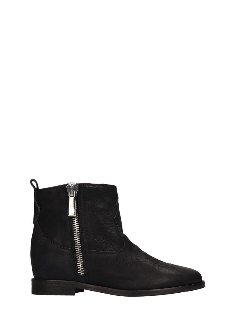 Julie Dee Black Suede Ankle Boots - Black