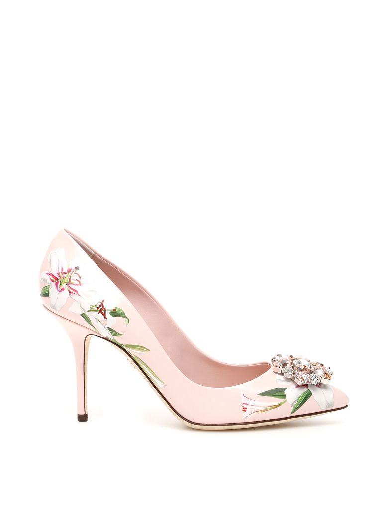 Dolce & Gabbana Bellucci Pumps With Lily Print - GIGLI FDO ROSA (Pink)