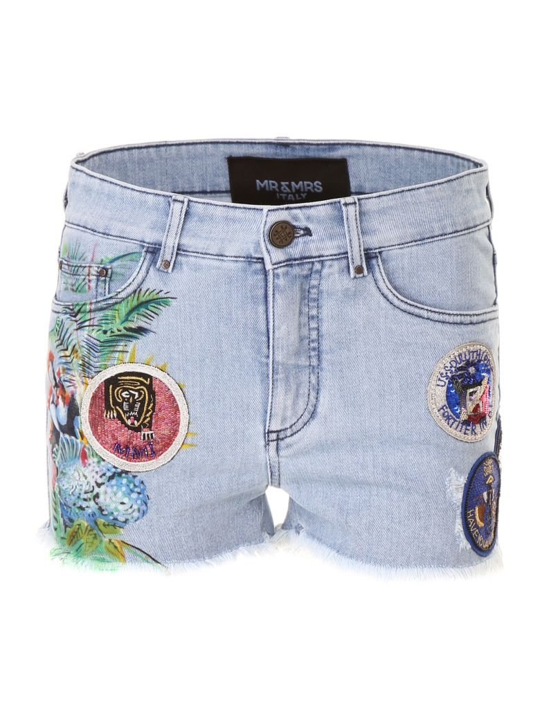Mr & Mrs Italy Printed Shorts With Patches - LT BLUE DENIM|Blu