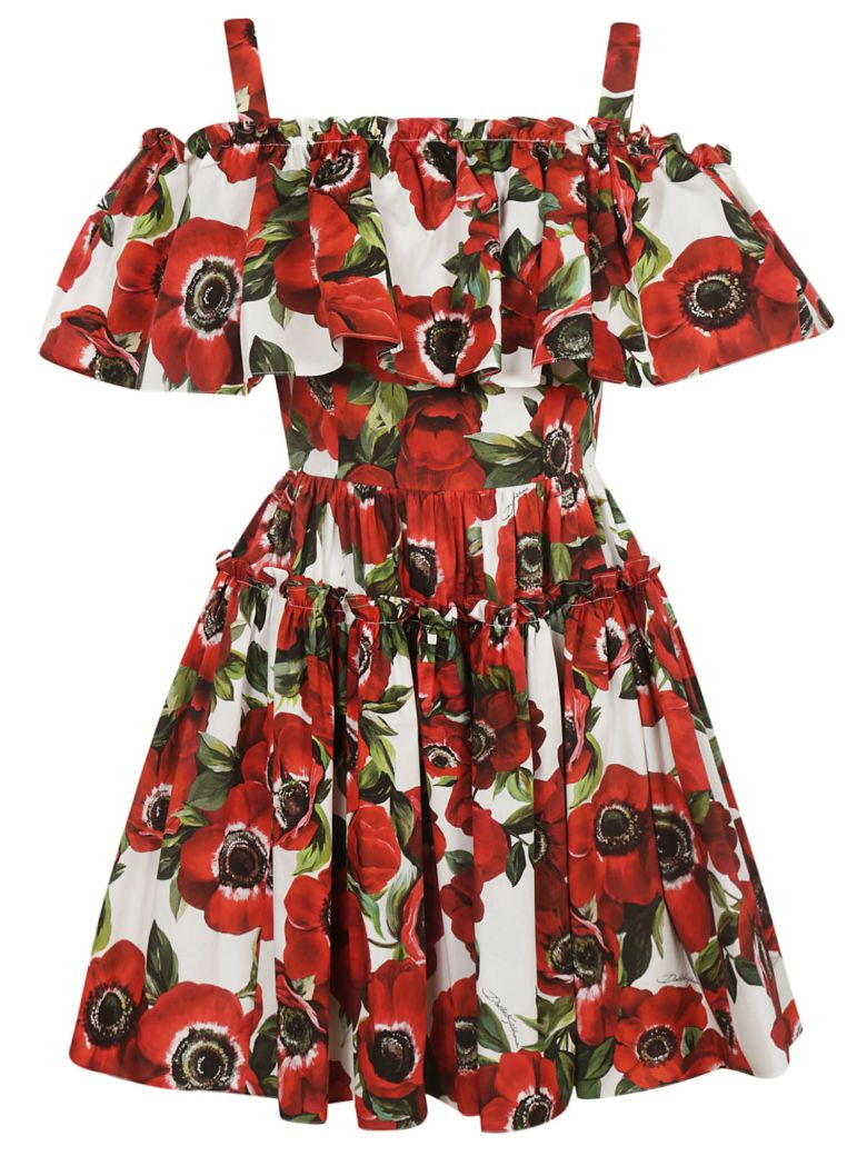 Dolce & Gabbana Anemone Print Short Dress - White