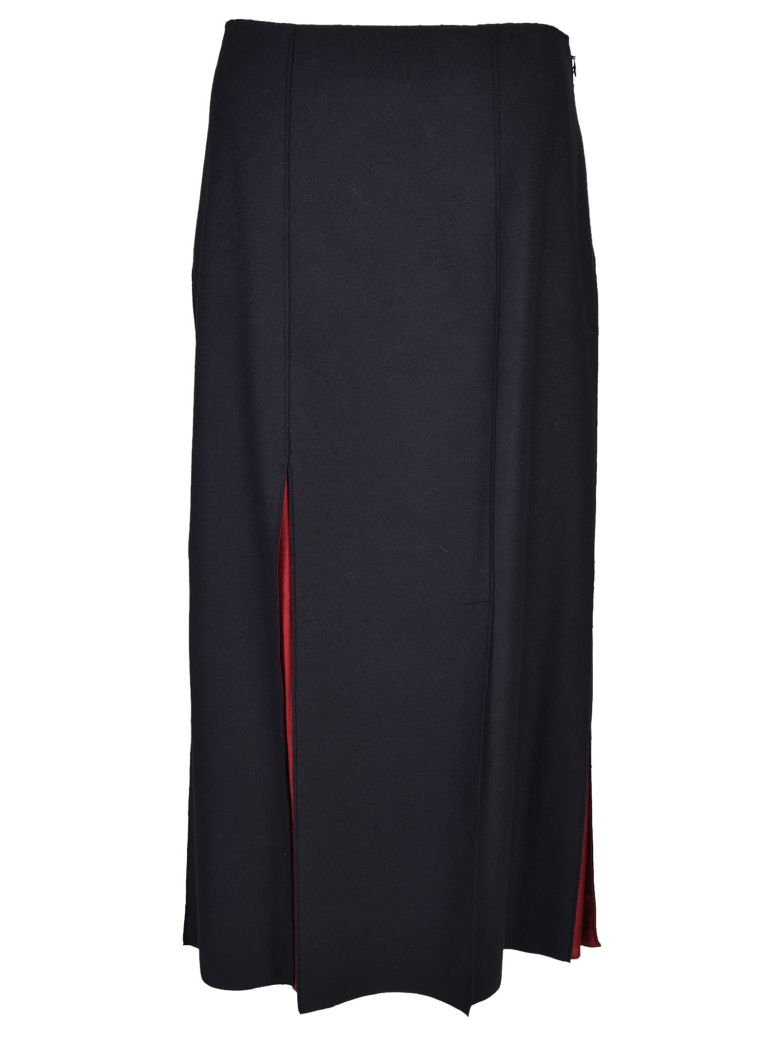 Jil Sander Navy Slit Detail Skirt - Blue