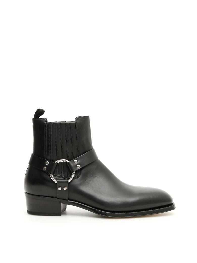 Alexander McQueen Leather Booties - BLACK BOTTLE GREEN (Black)