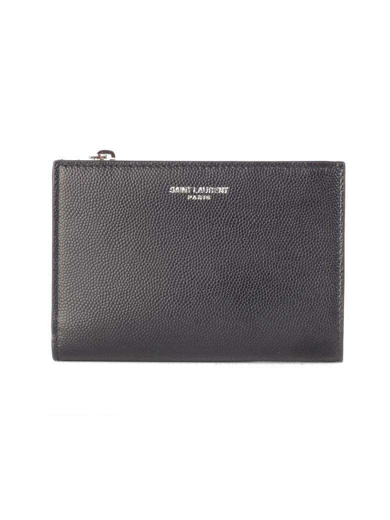 Saint Laurent Logo Bi-fold Wallet - Black
