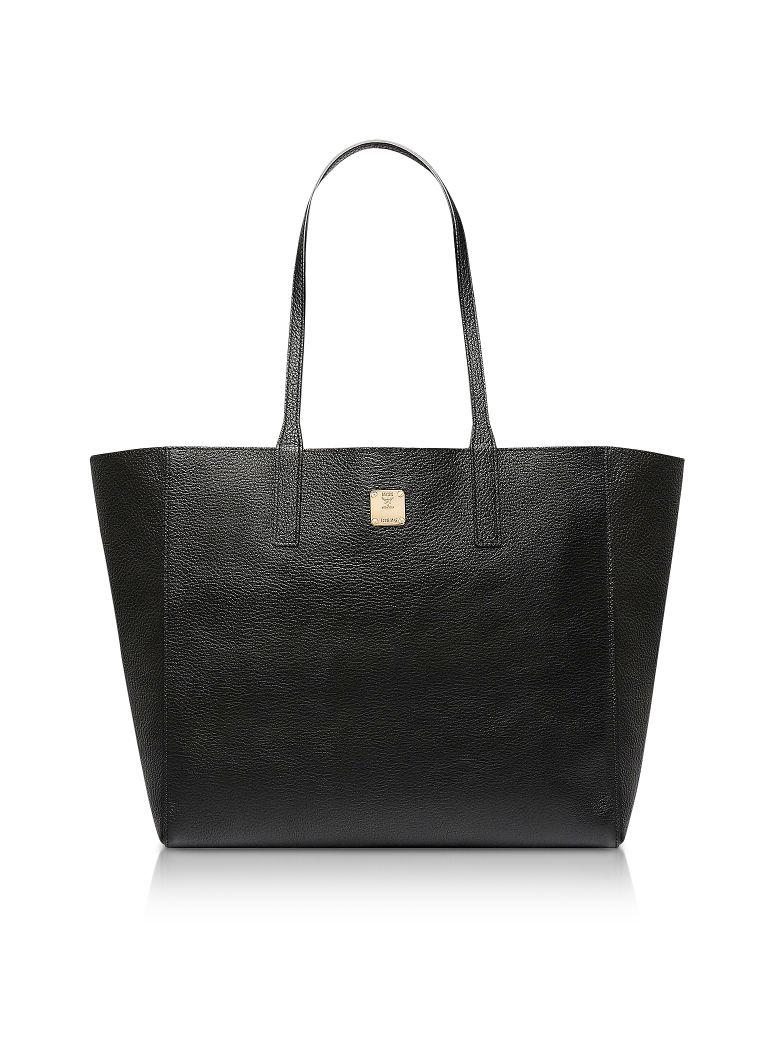 MCM Medium Metallic Leather Wandel Reversible Koppelene Shopper - Black