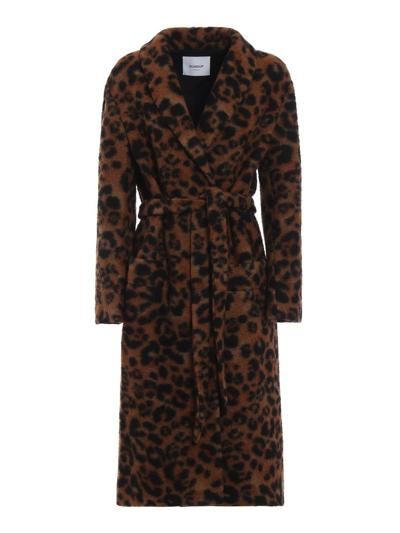 Dondup Animal Print Long Coat - Leopard